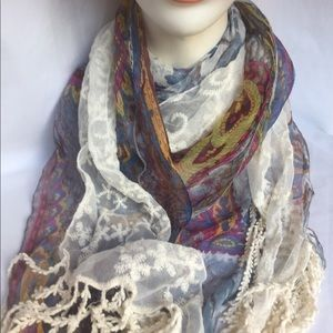 Beautiful Scarf Shear Paisley with multi-Colors.